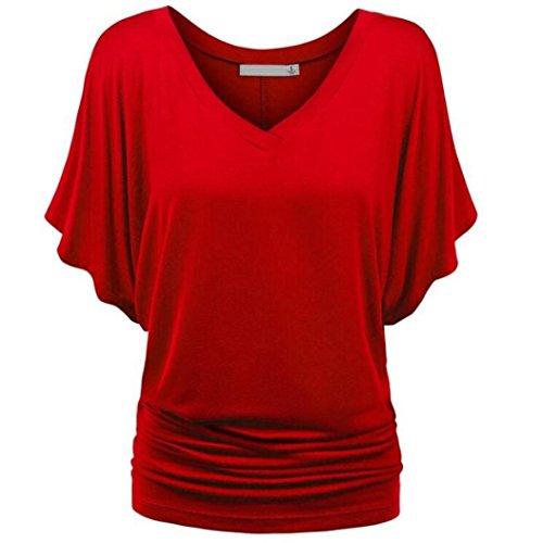 MRULIC Damen Pure Casual T-Shirt Top Tiefem V-Ausschnitt Bluse Plus Größe(A-Rot,EU-46/CN-2XL)