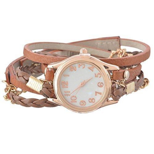Souarts Damen Geflochten Armbanduhr Jugendliche Maedchen Armreif Uhr mit Batterie Zifferblatt Braun 57.5cm (Golf Clubs Für Jugendliche)