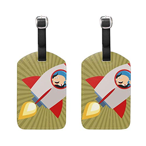 Custom Cartoon Rooster PU Leather Luggage Tags Suitcase Labels Bag Travel Accessories 2 Pieces YU9019