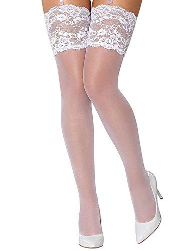 Obsessive 810-sto-2 calze per reggicalze trasparenti aderenti con pizzo floreale, bianco,l/xl