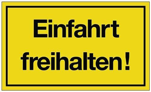 Hinweiszeichen Hinweisschild B 250 x H 150 mm -Einfahrt freihalten- schwarz/gelb