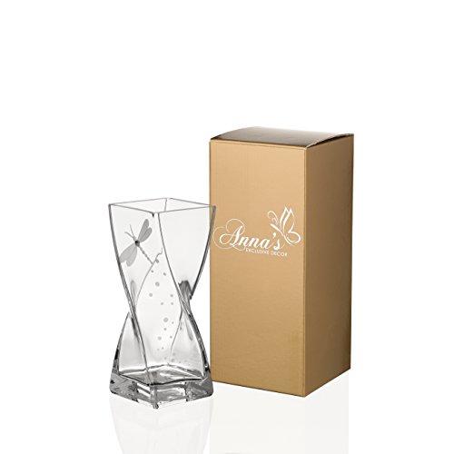 Vase en verre soufflé à la main de luxe avec cristal de Swarovski et libellule–dans un élégant Coffret cadeau–20cm