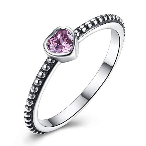 Ywring anelli in argento sterling 925 con zirconi brillanti a forma di cuore per le donne anniversario di matrimonio,rosso,6