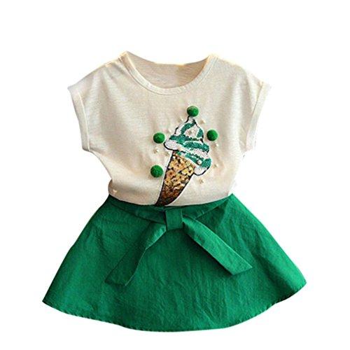 feiXIANG mädchen Röcke Zwei stücke Set Kleidung Kinder Kleid Rock Chiffon Bluse + Dot Rock Printkleid (100, Z/Grün)