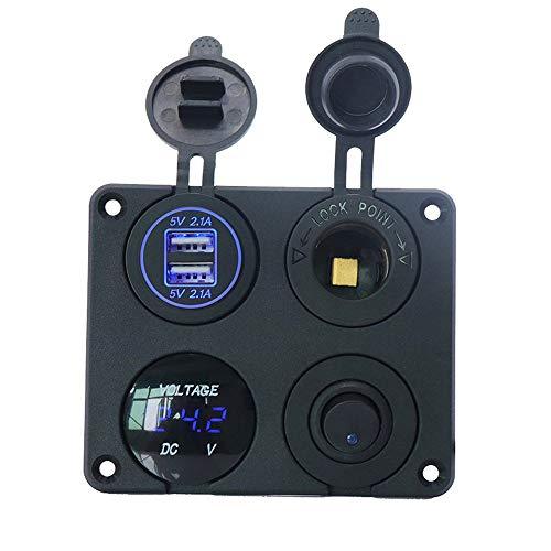 CONRAL 4.2A Dual USB Autoladegerät + LED Voltmeter + 12V Steckdose + EIN/Aus Kippschalter, 4 in 1 Ladesteckdosenleiste, für 12V / 24V Fahrzeuge Auto Boot RV Marine -