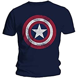 Marvel Hombres Captain America Distressed Shield Camiseta Large Azul marino