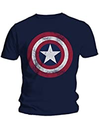 Marvel hombre Captain America Distressed Shield Camiseta