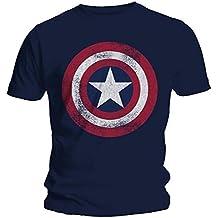 Marvel hombre Captain America Distressed Shield Camiseta Small Armada
