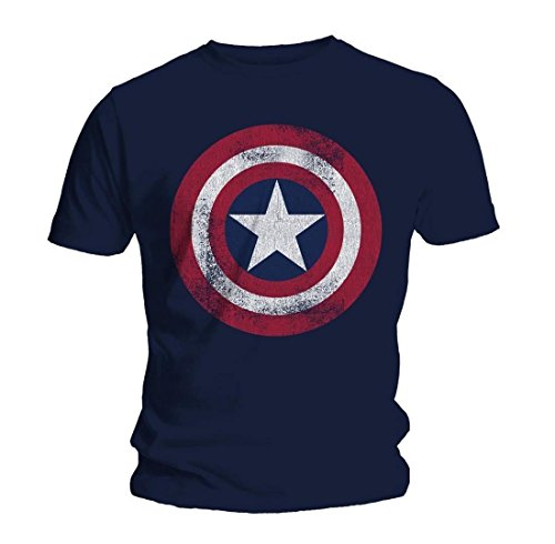 Marvel Uomo Captain America Distressed Shield T-Shirt Medium Blu marino