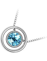 GWG® Collar con Colgante para Mujeres, Chapado en Oro Blanco 18K Cristal Circonita Redondo de Colores Varios dentro de Anillo