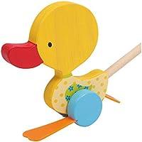 """Schiebespielzeug Watschel-Ente """"Tine"""" aus Holz, platscht beim Schiebe mit den Füßen, zaubert Kleinkindern ein begeistertes Lachen auf das Gesicht"""