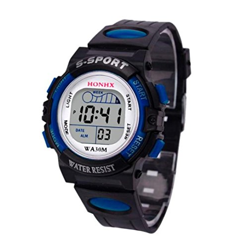 Kinder Uhren Digital Xinantime 2018 Wasserdichte Jungen Digital LED Sport Kinder Alarm Datum Geschenk Armbanduhren Schwarz/Blau/Orange/Rot/Gelb (Standard, Blau) (Kind Digitale Uhr)
