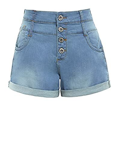 SS7 New Women's High Waisted Denim Shorts, Blue, Sizes 8 to 16 (UK - 12, Denim Blue)