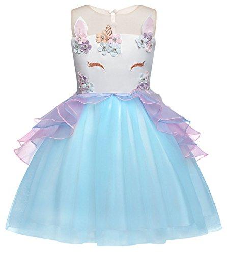 nhorn Prinzessin Tutu Kleid T¨¹ll Blumenm?dchen Kleider f¨¹r Kinder M?dchen Party Hochzeit Ankleiden 3-4 Jahre (Mädchen Glitzernden Kleid)