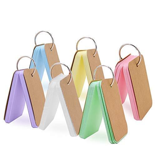 6er-Pack 300 Stück Flash-Karten blanko Lernkarten Revision Karten Mehrfarbig Kraftpapier Binder Ring Easy Flip Memo Scratch Note Pads Lesezeichen DIY Grußkarte Karteikarte (6-ring-binder Mini)