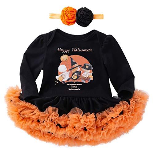 Likecrazy Mädchen Tüll Kleid Strampler + Stirnbänder Set Anzüge Kleinkind Baby Halloween Cosplay Kostüme Prinzessin Kleid Brief Langarm Spielanzug +Tüll Outfits Kleider - 80 Prom Kleider Kostüm