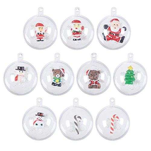 Casarse actuando 10piezas transparente rellenable bola fill-able snap-on bola (40mm) + 20unidades de Navidad en miniatura jardín de hadas adorno hogar bricolaje decoración para árbol de Navidad