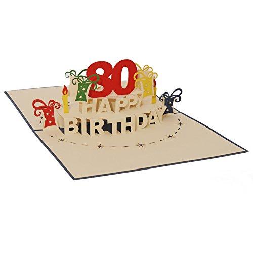 Favour Pop Up Glückwunschkarte zum runden 80. Geburtstag. Ein filigranes Kunstwerk, das sich beim Öffnen als Geburtstagstorte entfaltet. ALTA80BL