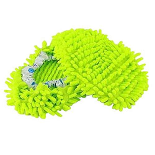 Schuhzubehör 1 para Chenille Faser Nette Staub Mop Hausschuhe Schuhe Bodenreiniger für Haus Büro Küche Badezimmer Schlafzimmer, Lila Machen Sie Ihre Füße gesünder (Color : Green, Size : M)