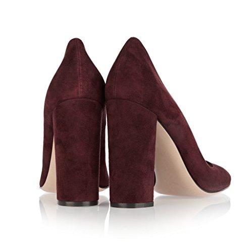 EDEFS Femmes Artisan Fashion Escarpins Unis Classiques Uniques Bout Ronds Travail Bureau Chaussures à Talon Carré de 100mm Rouge Vineux