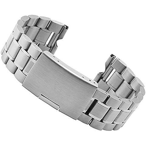 fenguh Plata 22mm Sólido Acero Inoxidable Venda De Reloj Pulsera Correa de Repuesto Replacement Watch Bands para Motorola Moto 360 Smart Watch+Herramientas de Instalación--Plata