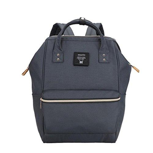 CHENGYANG Mädchen Jungen Schultasche Canvas Rucksack Handtasche Wanderrucksack Reisetasche 12 Zoll Laptoprucksack Dunkelgrau