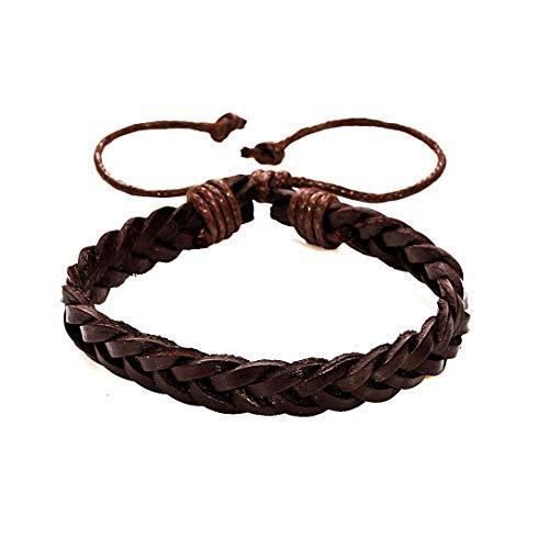 AKKi jewelry Armband für Herren Man Leder-Armband Armkette Geflochten Seil Armreifen Größe Verstellbar aus echt-Leder Partner-Schmuck Braun 8