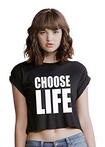 CHOOSE LIFE CROP TOP T shirt Tee Top Wham Retro George Michael 80's XX girly xxx