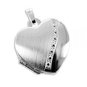 HausderHerzen.de Herz Medaillon925 Silberzum öffnen für Bildereinlage/ 2 Foto