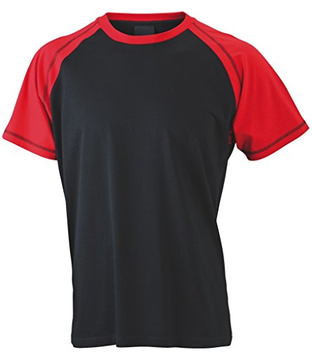 Herren Raglan T-Shirt Black/Red