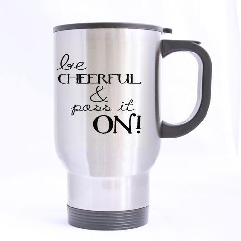 personnalisé Inscription Amusante être sympathique et Pass IT on Motif Mug Thé ou café de Transport 100% de matériaux en Acier Inoxydable Tasses de Voyage (Sliver) - 396,9 Gram Tailles