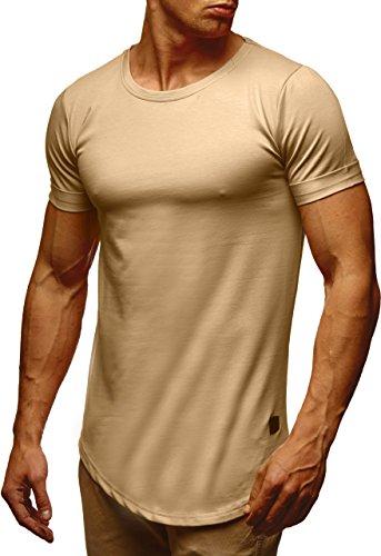 LEIF NELSON Herren T-Shirt Sweatshirt Hoodie Hoody LN6368 Beige