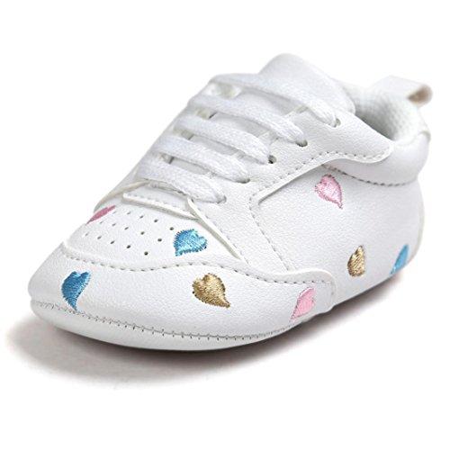 Baby Mädchen Weiß 4 Größe Schuhe (Babyschuhe Weiß, FNKDOR Jungen Mädchen Liebe Stickerei Schlupfschuhe Krabbelschuhe, 0-18 Monate (12-18 Monate, Mehrfarbig))