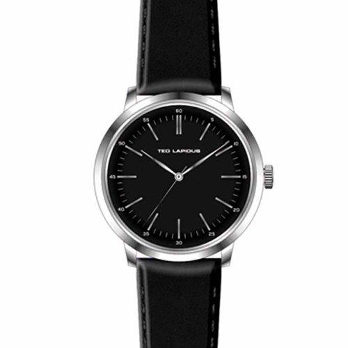 Ted Lapidus - 5129401 - Montre Homme - Quartz Analogique - Cadran Noir - Bracelet Cuir Noir