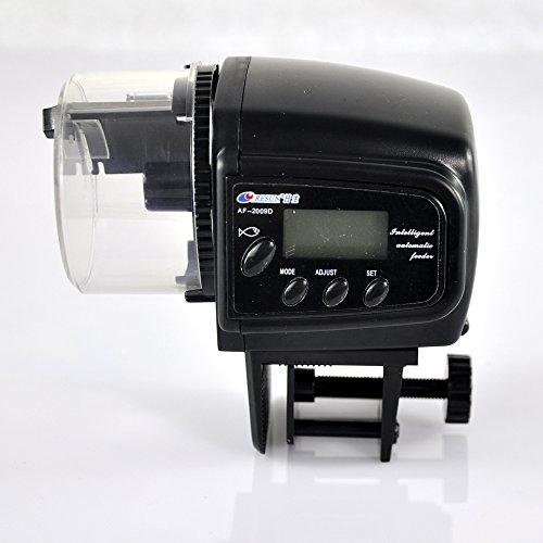 Lychee Automatischer Futterautomat Fische Futterautomat mit LCD Display und Zeitschaltuhr für Aquarium (AF-2009D) (Zeit Automatische Einstellen Der Uhr)