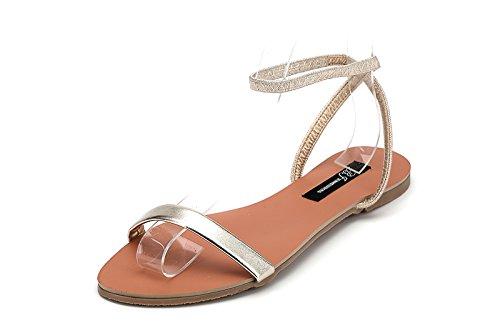 XY&GKFrauen mit flachem Boden Sandalen Sommer Studenten flache Sandalen mit einem Wort 39 gold