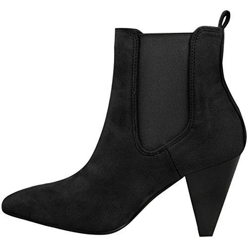 donna stivali caviglia donna Blocco Alto tacco ELASTICIZZATO Western largo Scarpe Numeri Nera Pelle Scamosciata