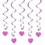 Oblique-Unique® Deckenhänger Spiral Girlanden mit Herzen - Farbe wählbar (Flieder-Rosa)