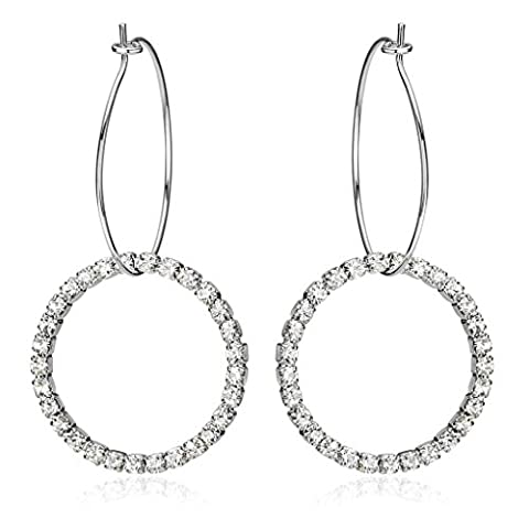 Adisaer Drop Earrings for Women Simple Big Round CZ Earrings Hoop for Bridal Women Earrings Gold Plated