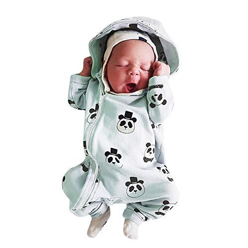 Babykleidung Neugeborene Strampler,Covermason Säuglingsbaby Mädchen Junge Strampler mit Kapuze Overall Karikatur Panda Jumpsuit mit Reißverschluss (0-6M, Grün)