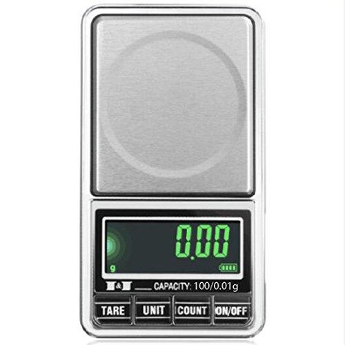 Elektronische digitale LCD-Taschenwaage USB-Schnittstelle Jewelry Waage Mehrzweck Küche Maßstab, 1, 100/0.01g (Gepäck Korn)