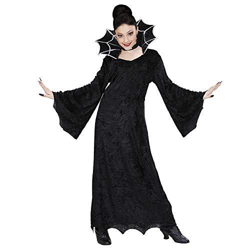 (WIDMANN 41118 - Kinderkostüm Hexe, Samtkleid mit großem Stehkragen und Halsband, Größe 158)