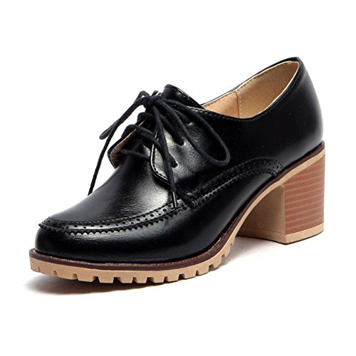Chaussures de style britannique féminin au printemps et en été/profonde des liens étroits avec chaussures occasionnelles/Chunky talons chaussures femme D