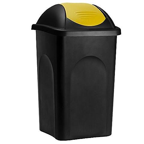 Stefanplast® Abfalleimer mit Schwingdeckel 60L schwarz/gelb 68x41x41cm - Mülleimer Abfallbehälter Papierkorb made in