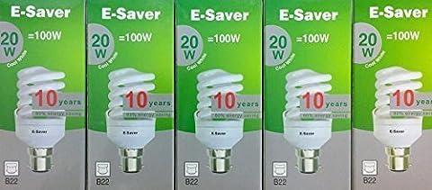 Lot de 5, E-Saver 20 W = 100 W Blanc froid 4200 K, à spirale, Compact, Fluorescent (CFL)-Culot à baïonnette (BC, B22) 1150 Lumen, 80% , T2% -85 Ampoule à économie d'énergie Lumière non vacillante lors, 10 000 heures de durée de vie