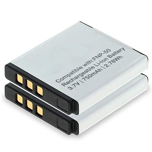subtel 2X Akku für Fujifilm X10 Fuji X20 XF1 XP200 XP150 XP100 Instax SQ10 Instax Share SP-3 F100ER F550EXR F600EXR F660EXR F770EXR F900EXR Real 3D W3, NP-50 NP-50A 750mAh Ersatzakku Batterie -