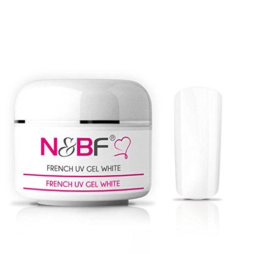 N&BF Gel french UV blanc classique/de couleur blanche, gel pour ongles, gel de couleur pour ongles en gel, faux ongles, manucure, Nails, moyen visqueux 30ml