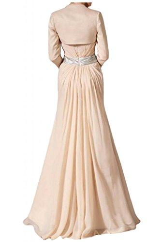 Toscana sposa stile piena Traeger Los Satin Bolero appendiabiti di lunghezza Chiffon madre della sposa abiti party Ball abiti da sera Beige Rosa