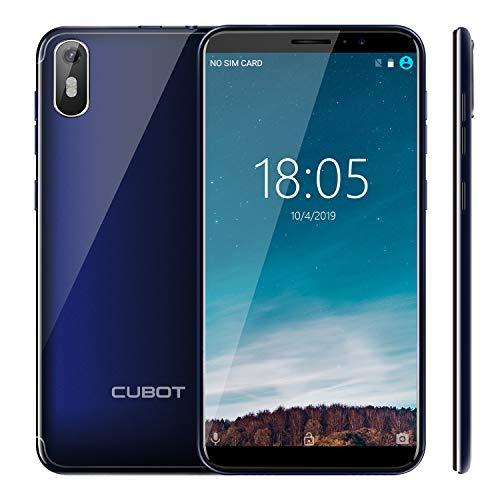 CUBOT J5 2019 Android 9.0 Smartphone Libre 3G 5.5' 18:9 Full-Screen Quad-Core 2GB RAM 16GB ROM Dual SIM Cámara 8Mp Detección de Gravedad y GPS 2800mAh WiFi Bluetooth Ranular de Tarjeta TF Azul