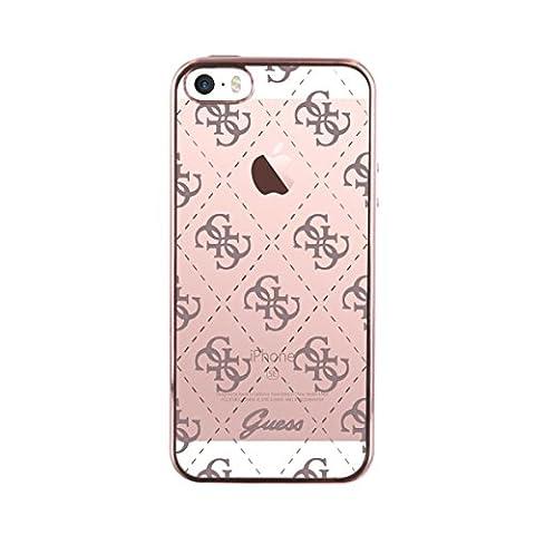 Guess Coque semi-rigide pour iPhone 5S/SE Transparent/Rose doré